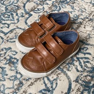 Toddler boys brown (faux)  leather shoes